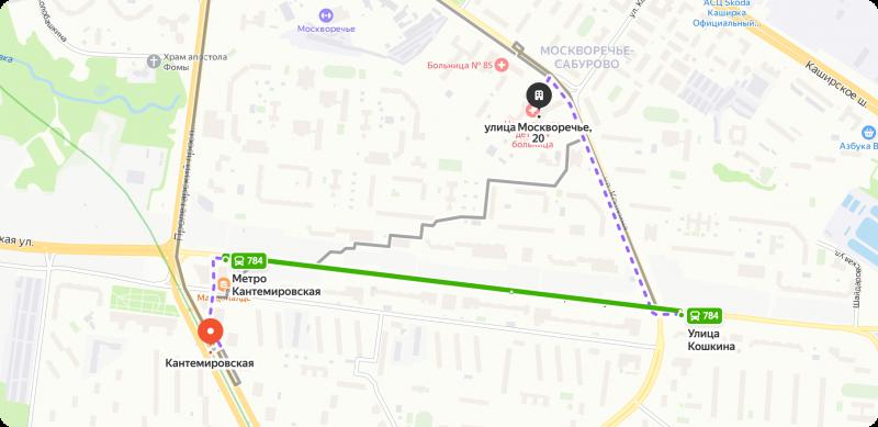 Проезд от метро Кантемировская
